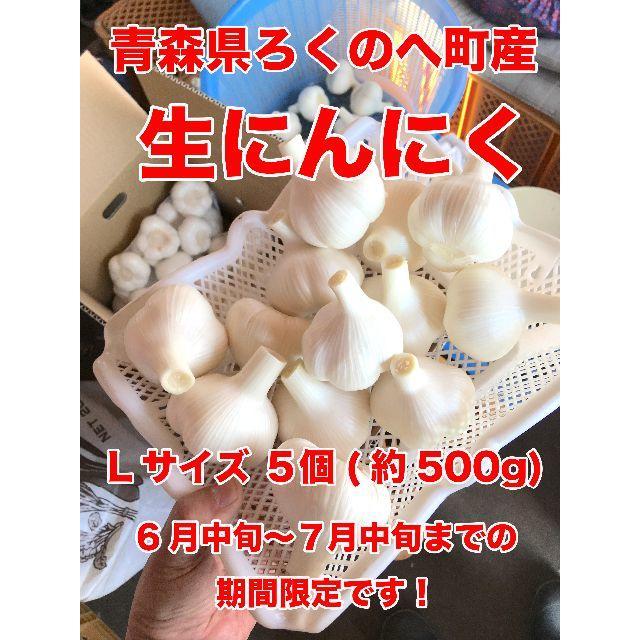 生にんにく 青森県六戸町産 Lサイズ 5個(約500g) 期間限定 食品/飲料/酒の食品(野菜)の商品写真
