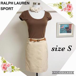 ラルフローレン(Ralph Lauren)のラルフ ローレンスポーツの牛革ベルト付ミニタイトスカート(0)(ミニスカート)