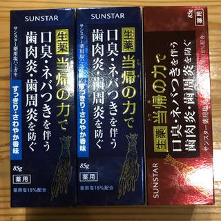 サンスター(SUNSTAR)のSANSTAR 生薬塩ハミガキ当帰の力 3箱セット(歯磨き粉)