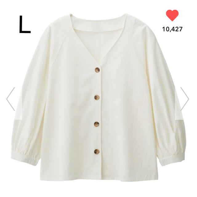 GU(ジーユー)のGU フロントボタンブラウス ホワイト L レディースのトップス(シャツ/ブラウス(長袖/七分))の商品写真