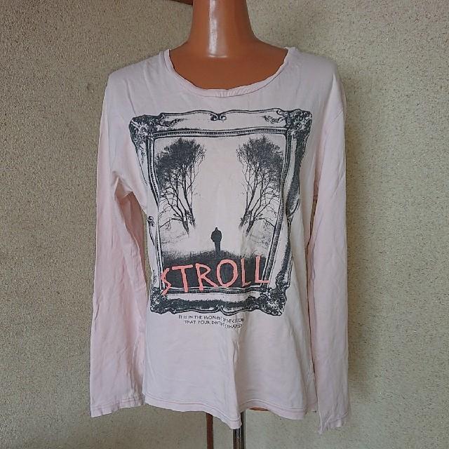 QUASH フロント&バック 英字プリント ロングTシャツ ライトピンク L メンズのトップス(Tシャツ/カットソー(七分/長袖))の商品写真