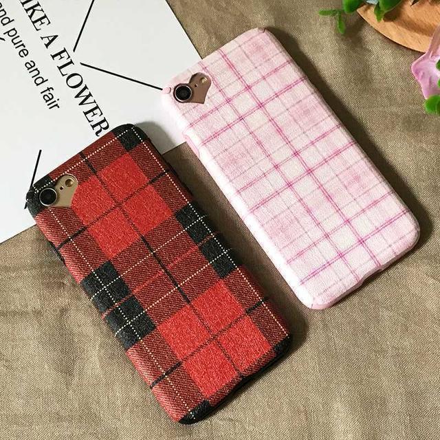 iPhone8/7 かわいい チェック柄 ケース ハート ピンク スマホ/家電/カメラのスマホアクセサリー(iPhoneケース)の商品写真