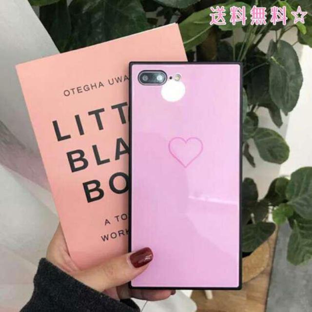 アイフォンケース ハート スクエア 可愛い 韓国 ブラック スマホ/家電/カメラのスマホアクセサリー(iPhoneケース)の商品写真