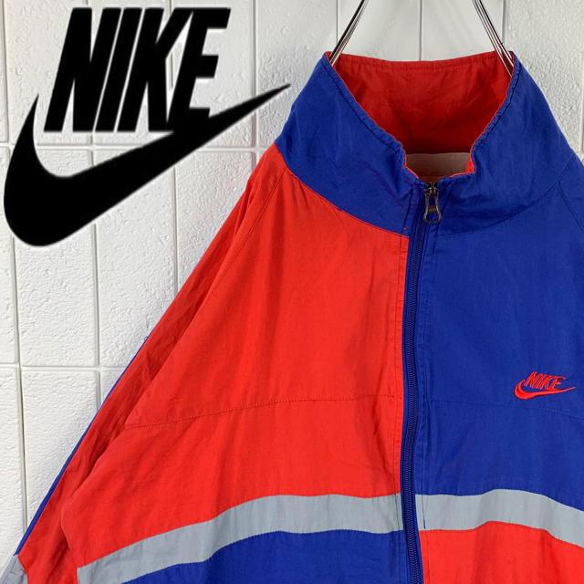 NIKE(ナイキ)のナイキ マルチカラー 銀タグ ゆるだぼ 90s ナイロン ジャージ 刺繍ロゴ メンズのジャケット/アウター(ナイロンジャケット)の商品写真
