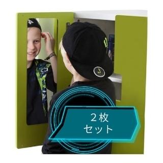 イケア(IKEA)の軽くて割れない鏡 IKEA 2枚 ミラー 粘着式 軽量(壁掛けミラー)