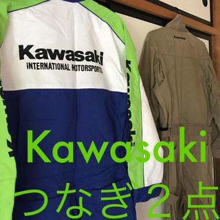 カワサキ - カワサキ作業着【USED】Mサイズ2着kawasakiメカニックスーツ つなぎ