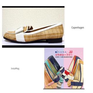 ダイアナ(DIANA)の【JJコラボ】23.5cm*美品*DIANA リボン&ラフィア  ローファー(ローファー/革靴)