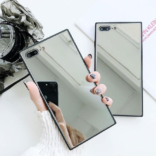 【韓国で大人気!】全面ミラー スクエア iPhone スマホケース スマホ/家電/カメラのスマホアクセサリー(iPhoneケース)の商品写真