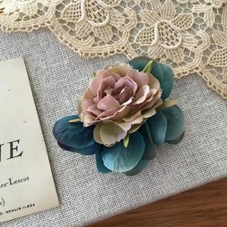 モーブバラとアンティークブルー紫陽花のコサージュ(コサージュ/ブローチ)