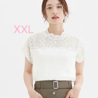 ジーユー(GU)の新品タグ付き GU レース切り替えT XXL 即完売品 ホワイト 白Tシャツ(Tシャツ(半袖/袖なし))
