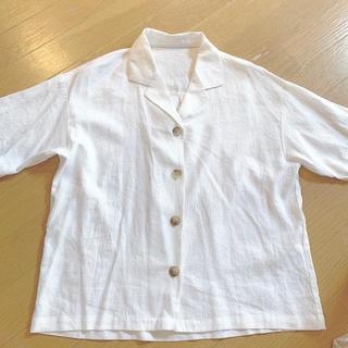 GU - リネンブレンドオープンカラーシャツ