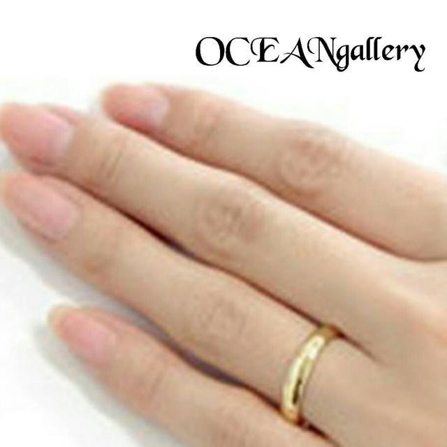 送料無料 26号 ゴールド サージカルステンレス シンプル甲丸リング 指輪 メンズのアクセサリー(リング(指輪))の商品写真