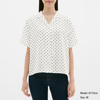 ジーユー(GU)のGU ドット柄オープンカラーシャツ(シャツ/ブラウス(半袖/袖なし))
