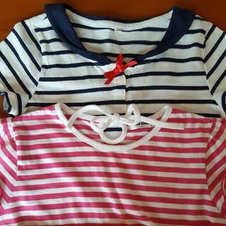シマムラ(しまむら)のTシャツ(紺セーラー風、赤丈長)2枚組(Tシャツ/カットソー)