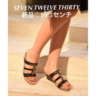 セヴントゥエルヴサーティ(VII XII XXX)の新品♡定価15120円 bijouサンダル mule ブラック 24.5センチ(サンダル)