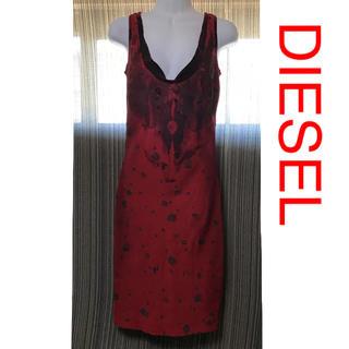 ディーゼル(DIESEL)のディーゼル ワンピース ドレス 赤 黒 イタリア製(ひざ丈ワンピース)