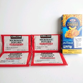 コストコ(コストコ)の『おまけつき♪』 コストコ ポップコーン×4個・マカロニチーズ×1箱 セット(インスタント食品)