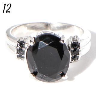 W5 リング 12号 人工石 ブラック オーバル 大粒 クール レディース(リング(指輪))