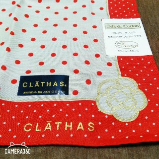 ハンカチ 大きい 新品 未使用 CLATHAS クレイサス 赤 水玉 ドット