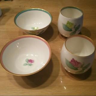 香蘭社 - 【値下げ‼】香蘭社  夫婦茶碗  湯のみ   ローズガーデン