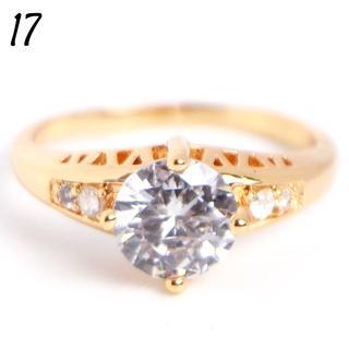 W6 リング 17号 人工石 ラウンド ホワイトサファイア ゴールド(リング(指輪))