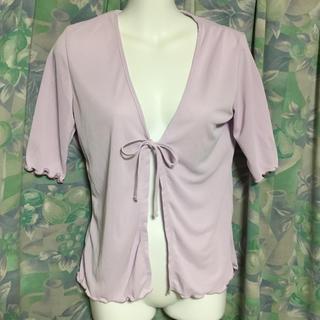 イネド(INED)のイネド 2号  藤色がかったピンクの半袖カーディガン   フランドル製品(カーディガン)