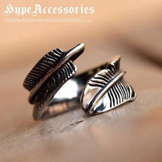 新品 指輪 リング メンズ レディース 巾着入り シルバー フェザー 18号(リング(指輪))