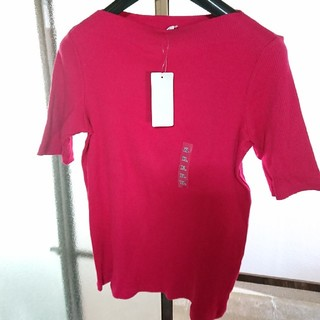 ユニクロ(UNIQLO)のユニクロ リブボートネックTシャツ  新品(Tシャツ(半袖/袖なし))