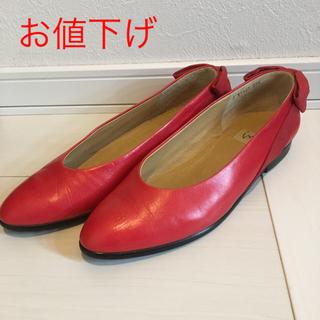 イング(ing)の【美品】ing イング 赤ローヒールパンプス 23.5(ハイヒール/パンプス)