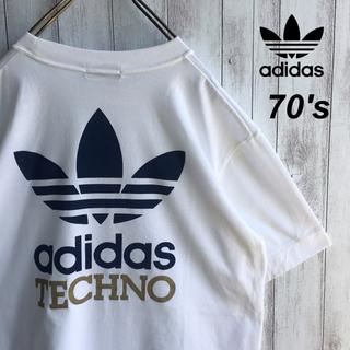 アディダス(adidas)の【美品】【70s adidas】デサント製 旧タグ トレフォイル デカロゴ(Tシャツ/カットソー(半袖/袖なし))
