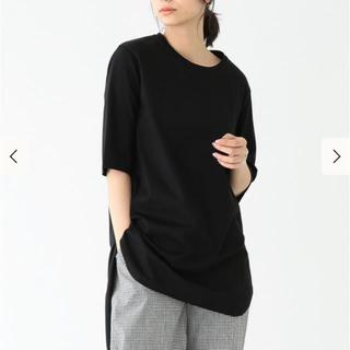 デミルクスビームス(Demi-Luxe BEAMS)のATON エイトン スビン ラウンドヘム Tシャツ ブラック (Tシャツ(半袖/袖なし))