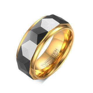 アクセサリー メンズ タングステン リング ゴールド 多面カット (リング(指輪))