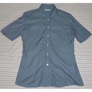 イネド(INED)のイネド 半袖シャツ レディース グリーン×パープル チェック 女性用 INED (シャツ/ブラウス(半袖/袖なし))