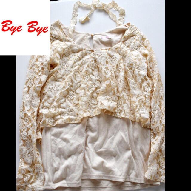 ByeBye(バイバイ)のbyebye♡ベージュレーストップス900円 レディースのトップス(カットソー(長袖/七分))の商品写真