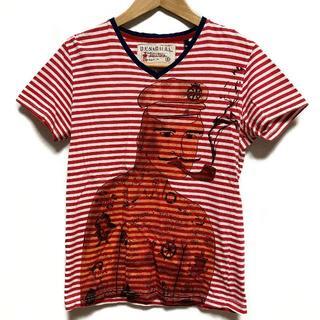 デシグアル(DESIGUAL)のDesigual デシグアル ボーダー プリント Tシャツ Vネック S マリン(Tシャツ(半袖/袖なし))