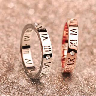 サージカルステンレス!ローマ字数字スケルトンリング指輪(リング(指輪))
