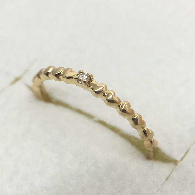 オレンジ様専用 K18YG ダイヤモンド デザイン リング 0.01 5号 レディースのアクセサリー(リング(指輪))の商品写真