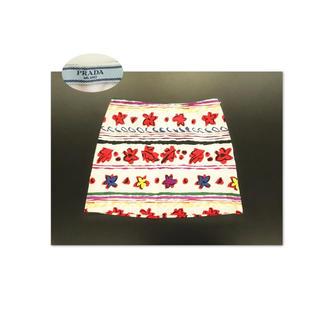 プラダ(PRADA)のPRADA 色とりどりのお花ボーダー 台形サマースカート(ミニスカート)