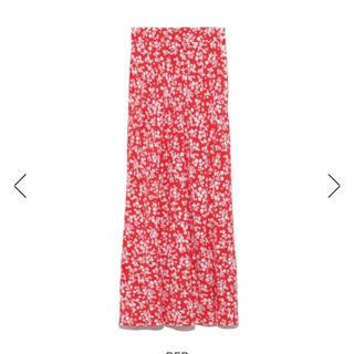 フレイアイディー(FRAY I.D)の完売品❤️ フレイアイディー ナローフレアフラワースカート ナロースカート 赤(ロングスカート)