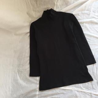 ロキエ(Lochie)のvintage 黒 七分袖 ハイネック Tシャツ(Tシャツ(長袖/七分))