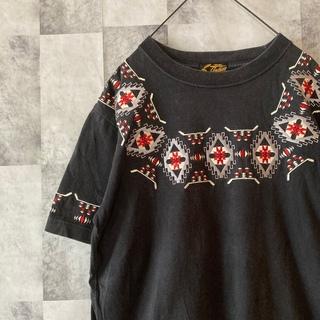 インディアン(Indian)のインディアン 刺繍 Tシャツ ネイティブ ブラック(Tシャツ(半袖/袖なし))