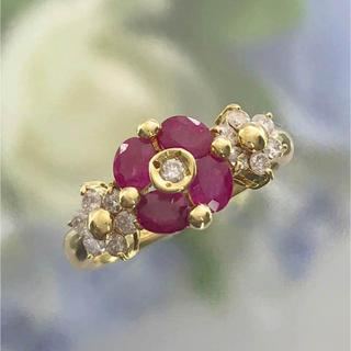 K18ルビーダイヤリング指輪(リング(指輪))