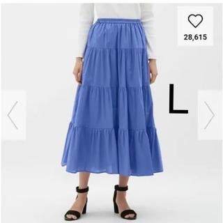 ジーユー(GU)の新品*GU  ジーユー  ティアードフレアロングスカート  L  ブルー(ロングスカート)