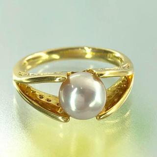 K18真珠ダイヤモントリング指輪(リング(指輪))
