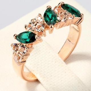 リーフカットジルコニア リング 指輪 レッド ブルー グリーン(リング(指輪))