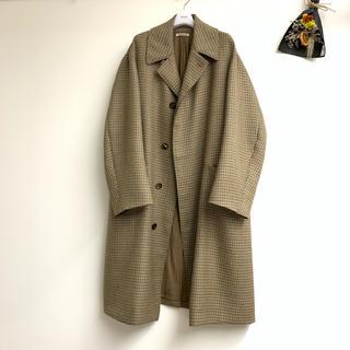 コモリ(COMOLI)のAURALEE double face check long coat 17aw(ステンカラーコート)