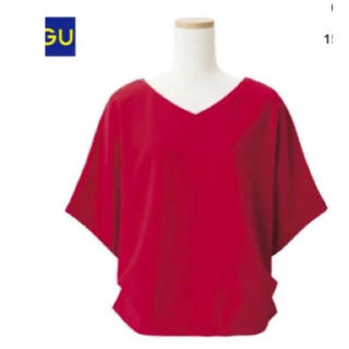 ジーユー(GU)のドルマン さらり シャツ 赤(シャツ/ブラウス(半袖/袖なし))