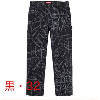 シュプリーム(Supreme)の【黒32】supreme Gonz Map Denim Painter Pant(デニム/ジーンズ)