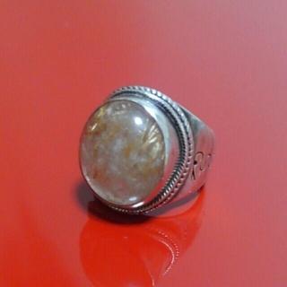 値下げ☆珍しいルチルクオーツのシルバーリング指輪 10.5号  (リング(指輪))