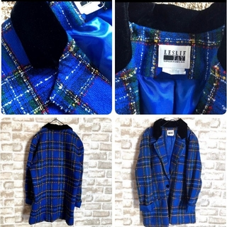 【レスリーフェイ】ジャケット 襟ベロア素材 ツイード生地 2XL《3L》(チェスターコート)